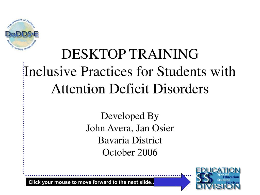 desktop training inclusive practices for students with attention deficit disorders l.