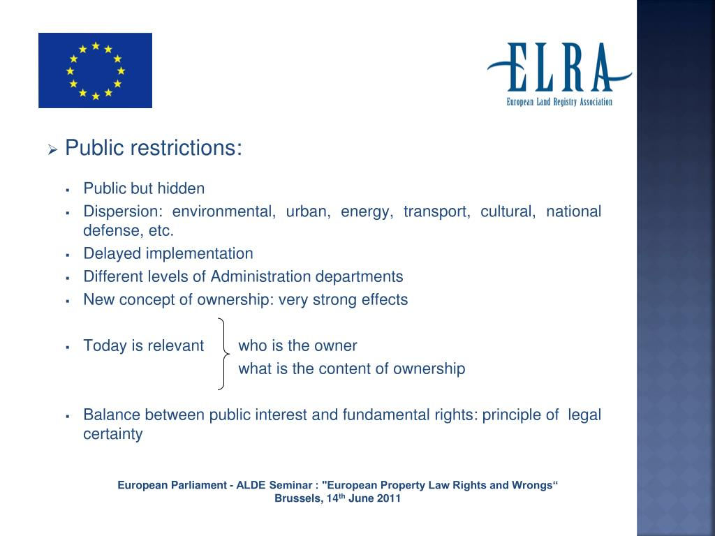 Land Registry Restrictions >> Ppt Eu Land Registries Enhancing Confidence In The