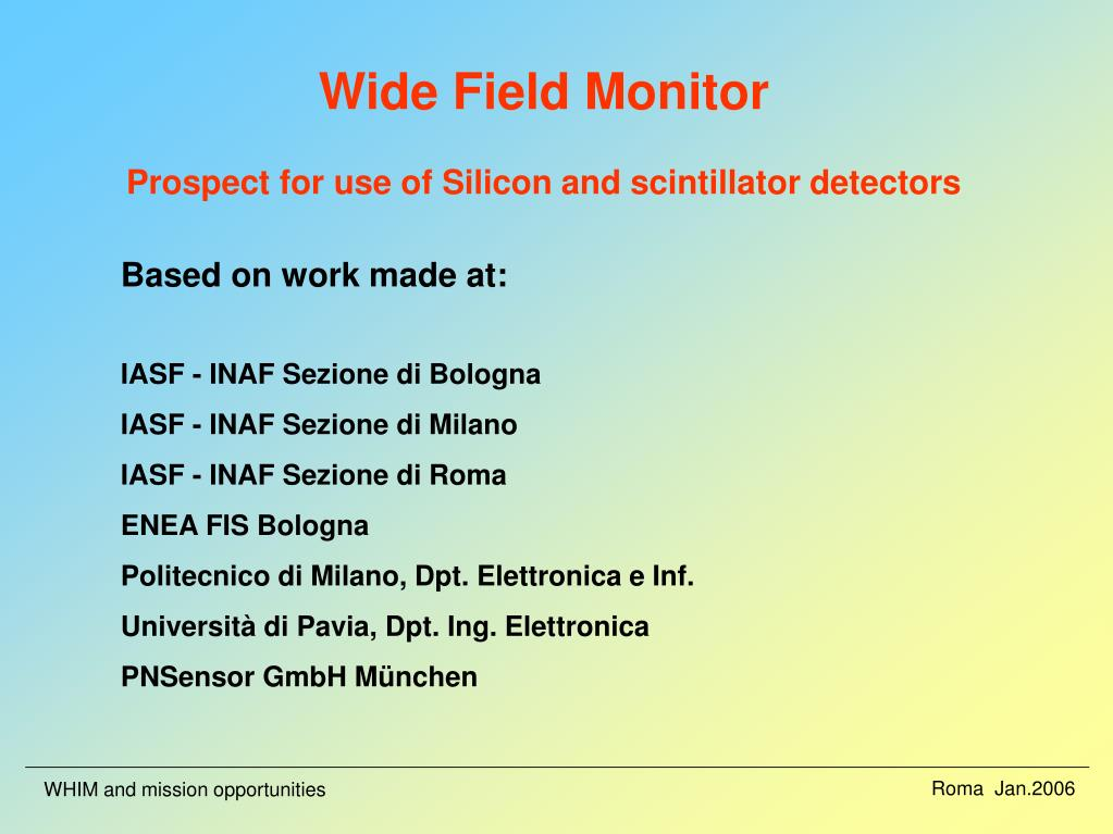 wide field monitor prospect for use of silicon and scintillator detectors l.