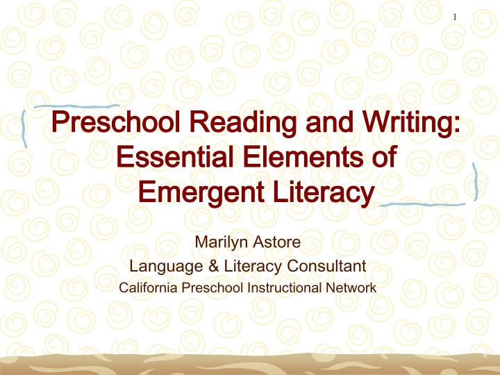 preschool reading and writing essential elements of emergent literacy n.