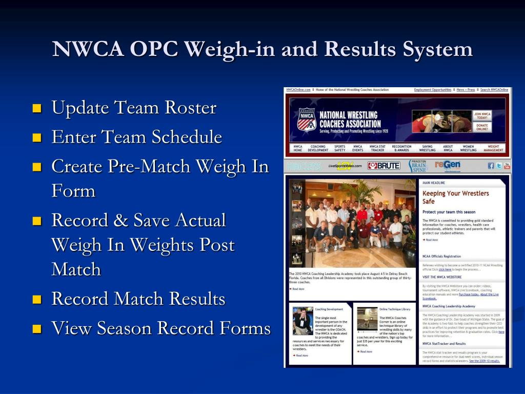 nwca opc weigh in and results system l.