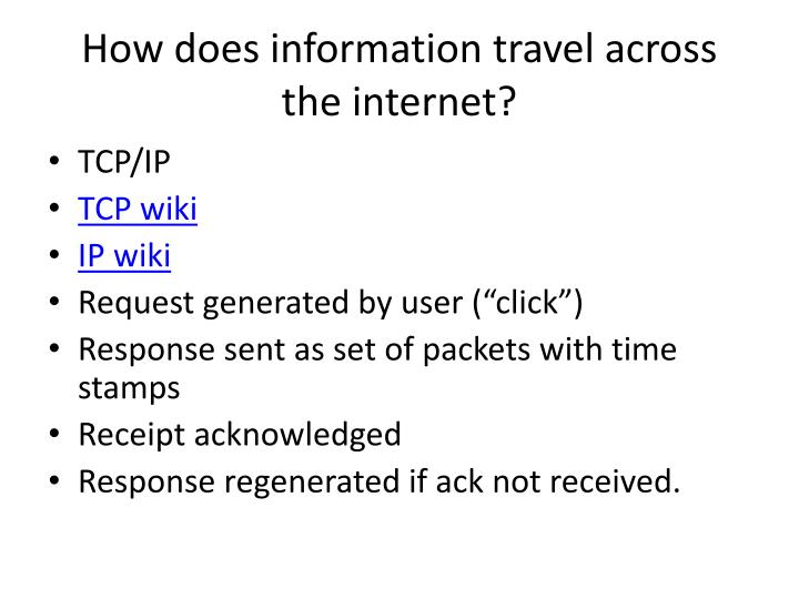 How does information travel across the internet