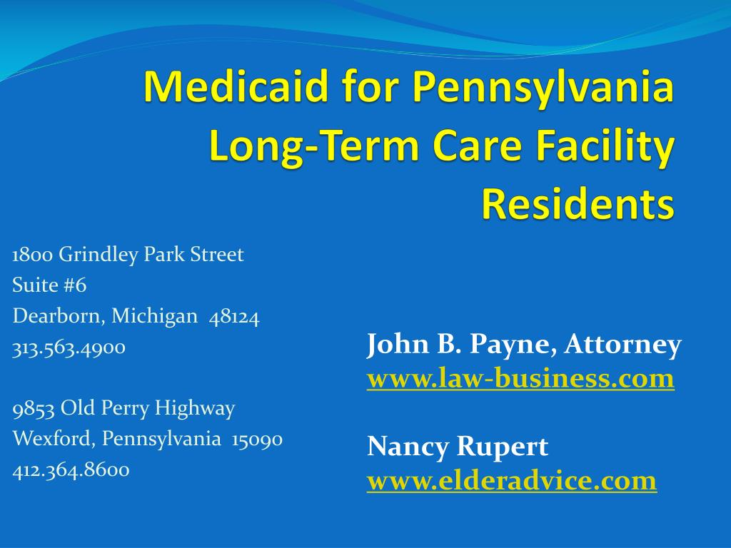 medicaid for pennsylvania long term care facility residents