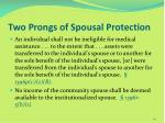 two prongs of spousal protection