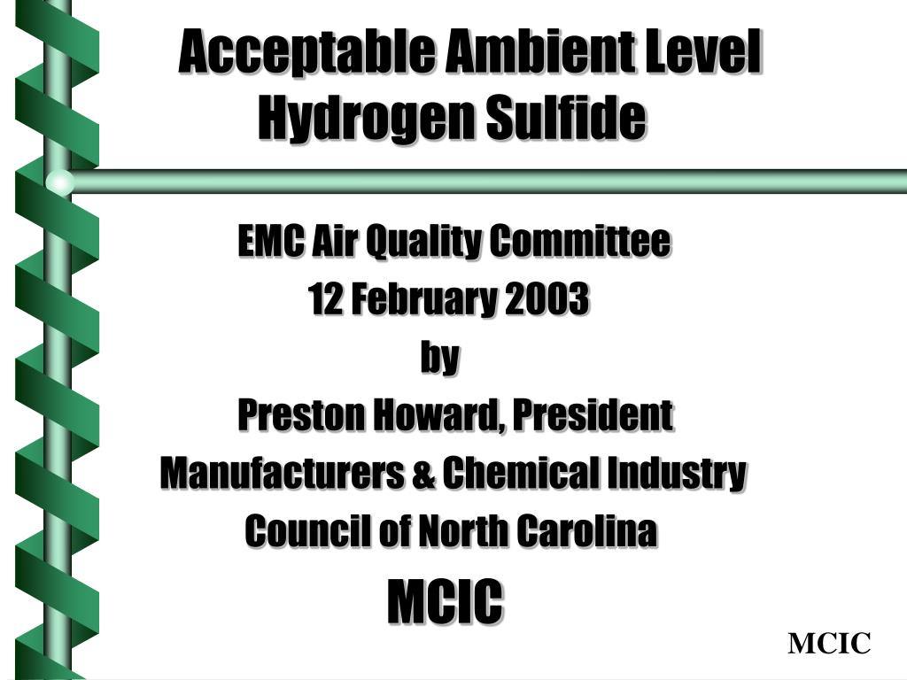 acceptable ambient level hydrogen sulfide l.