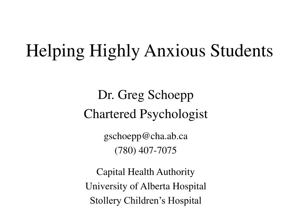 helping highly anxious students