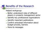 benefits of the research