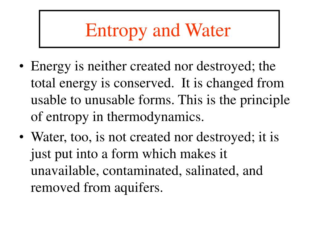 Entropy and Water