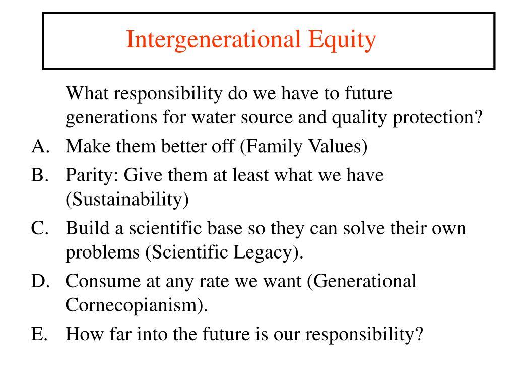 Intergenerational Equity