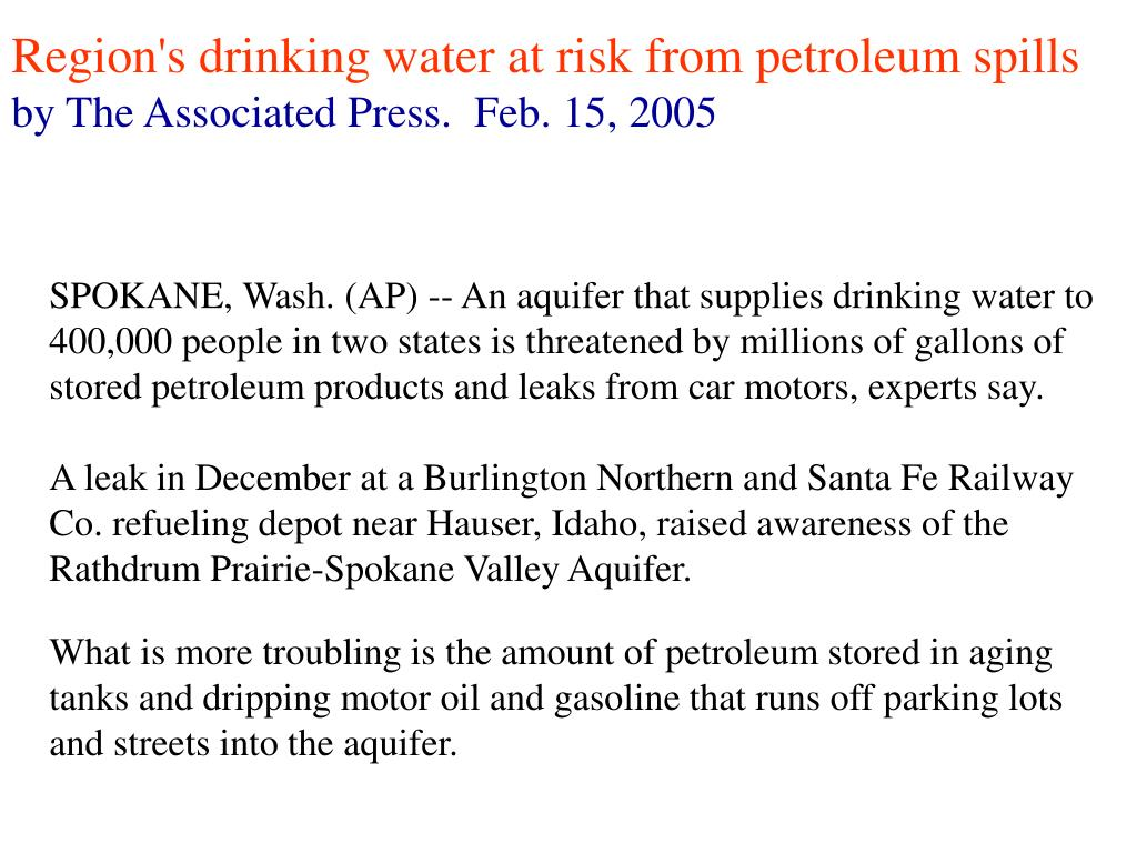Region's drinking water at risk from petroleum spills