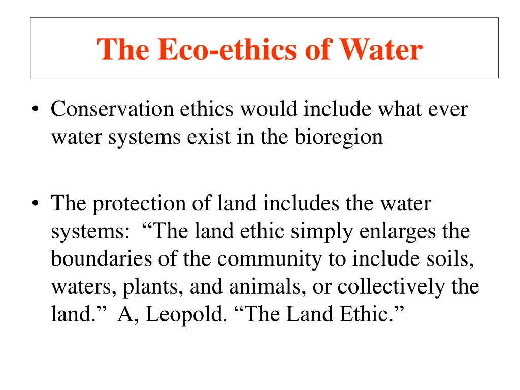 The Eco-ethics of Water