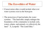 the eco ethics of water