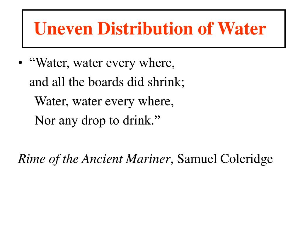 Uneven Distribution of Water