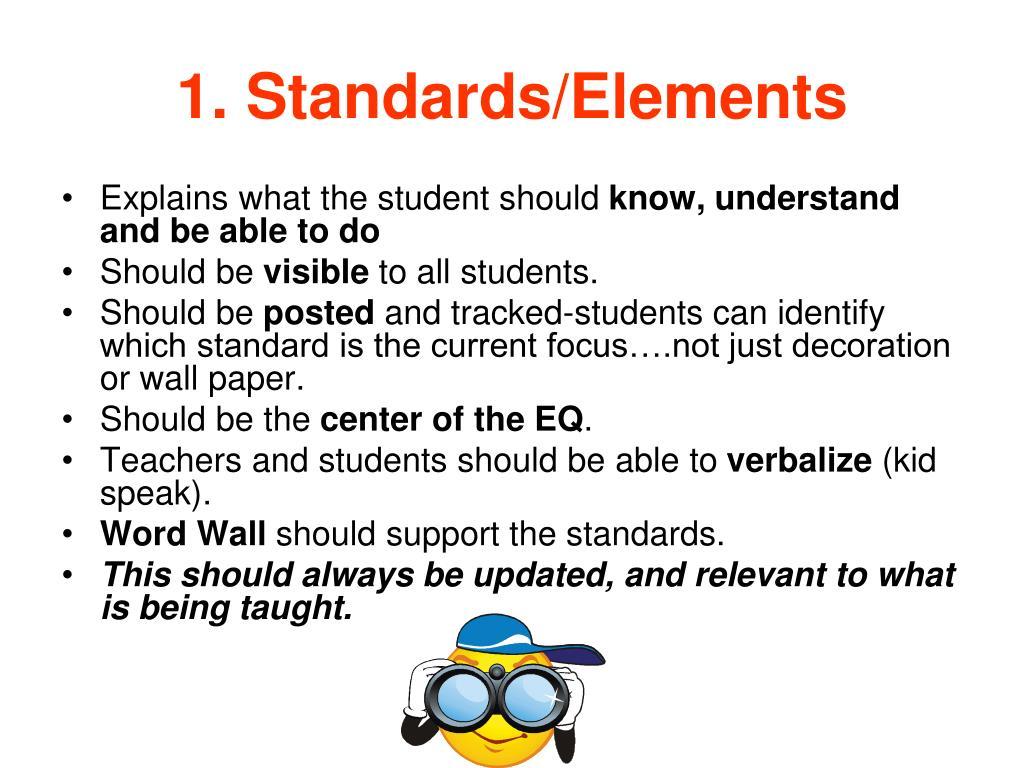1. Standards/Elements