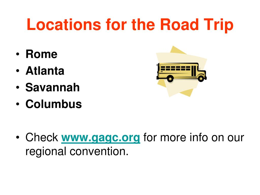 Locations for the Road Trip