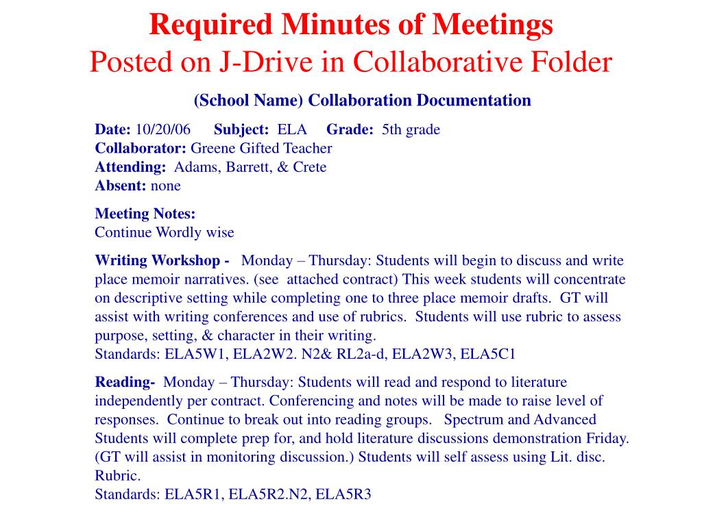 Required Minutes of Meetings