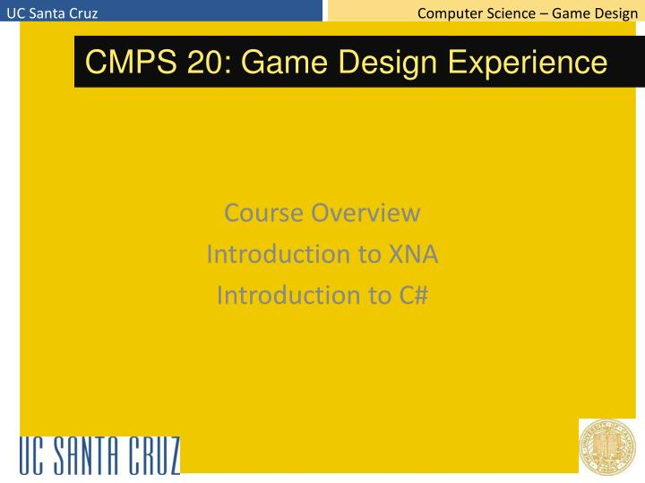 course overview introduction to xna introduction to c n.