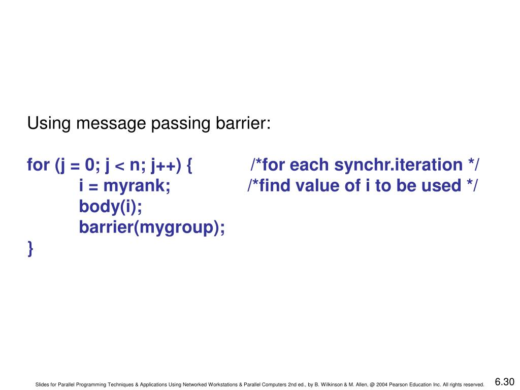 Using message passing barrier: