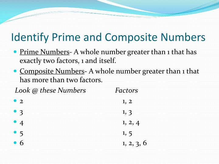 Identify prime and composite numbers