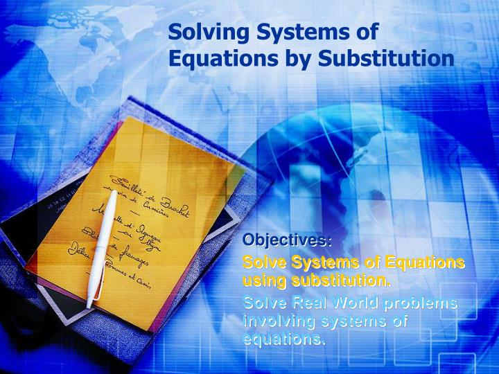solving systems of equations by substitution n.
