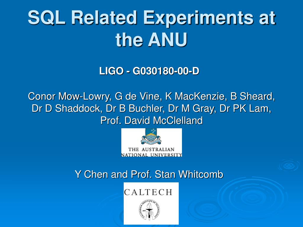 sql related experiments at the anu l.