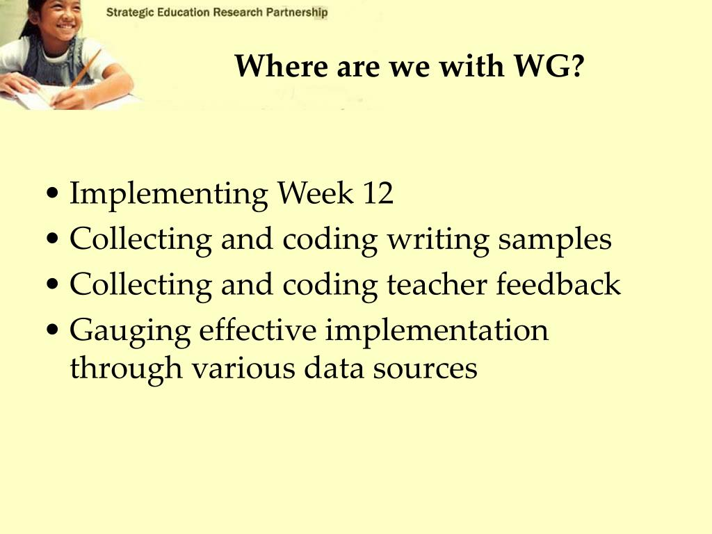 Where are we with WG?