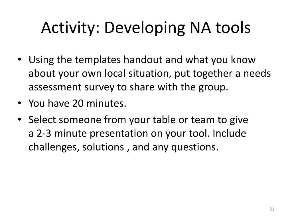 Activity: Developing NA tools