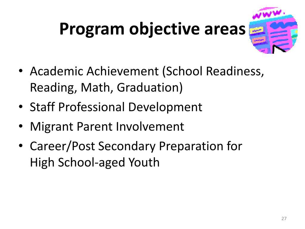 Program objective areas
