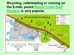 bicycling rollerblading or running on the 5 mile paved moose creek dam bikeway is very popular