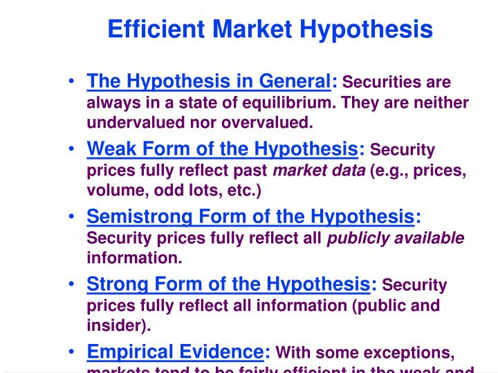 emh weak form thesis Rational expectations, the efficient market hypothesis, and the santa fe artificial stock market model leigh tesfatsion department of economics iowa state university.