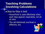 teaching problems involving calculations
