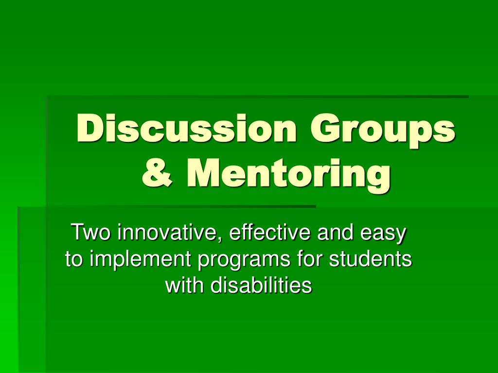 discussion groups mentoring l.