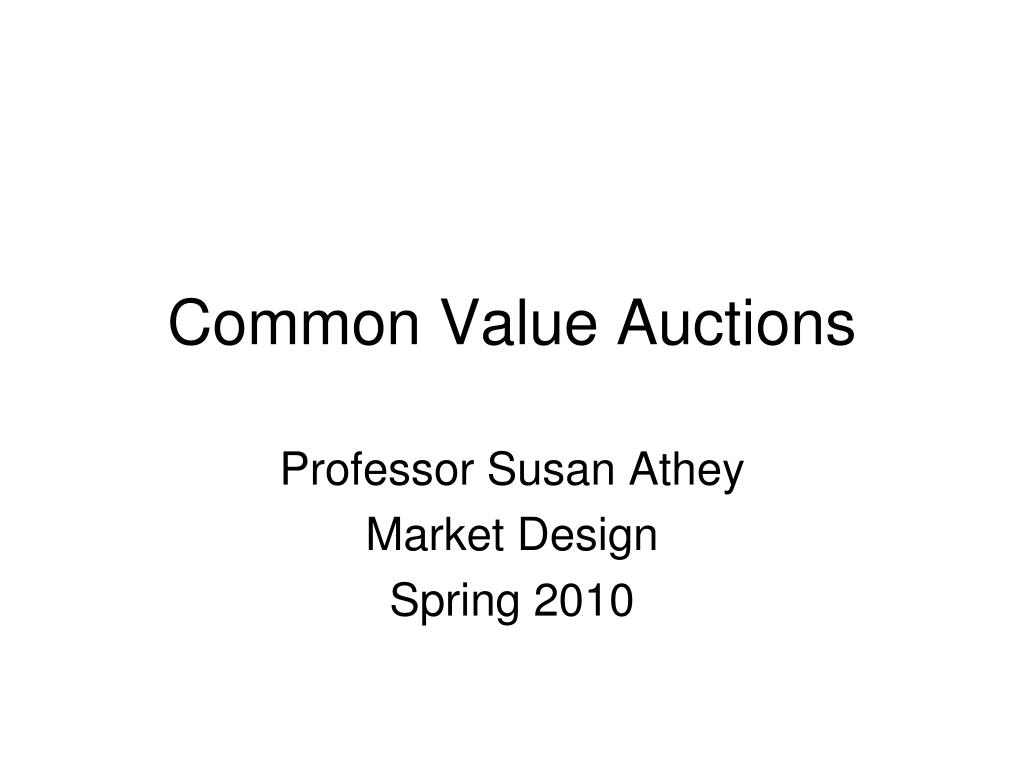 common value auctions l.