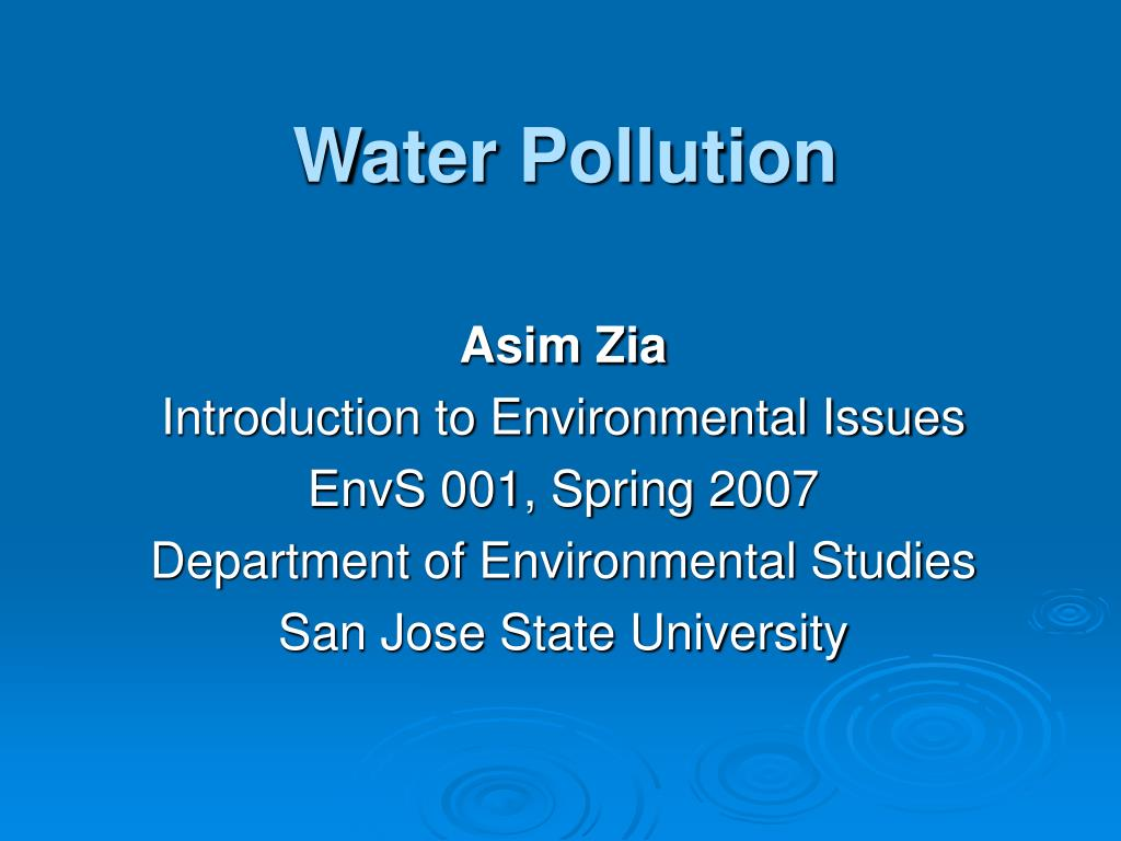 an introduction to the issue of water pollution