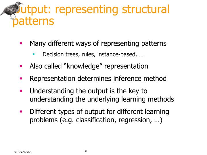Output representing structural patterns