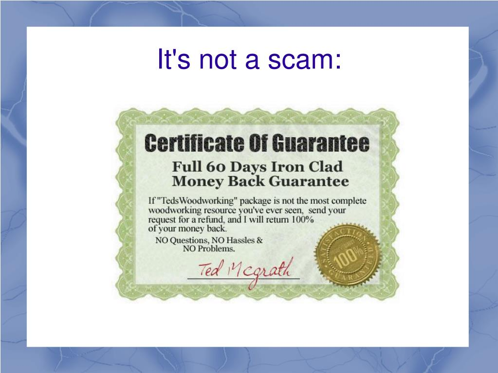 It's not a scam: