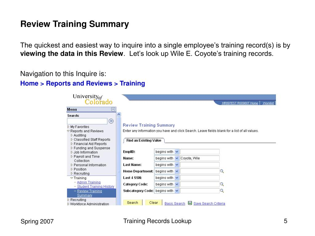 Review Training Summary
