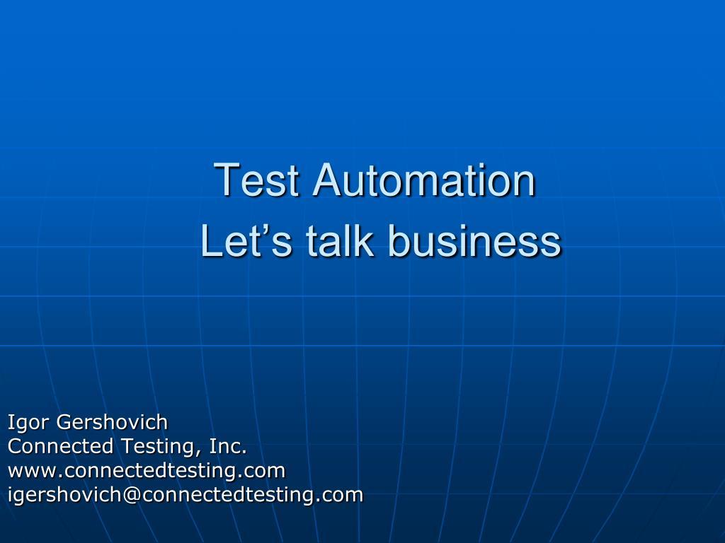 test automation let s talk business l.
