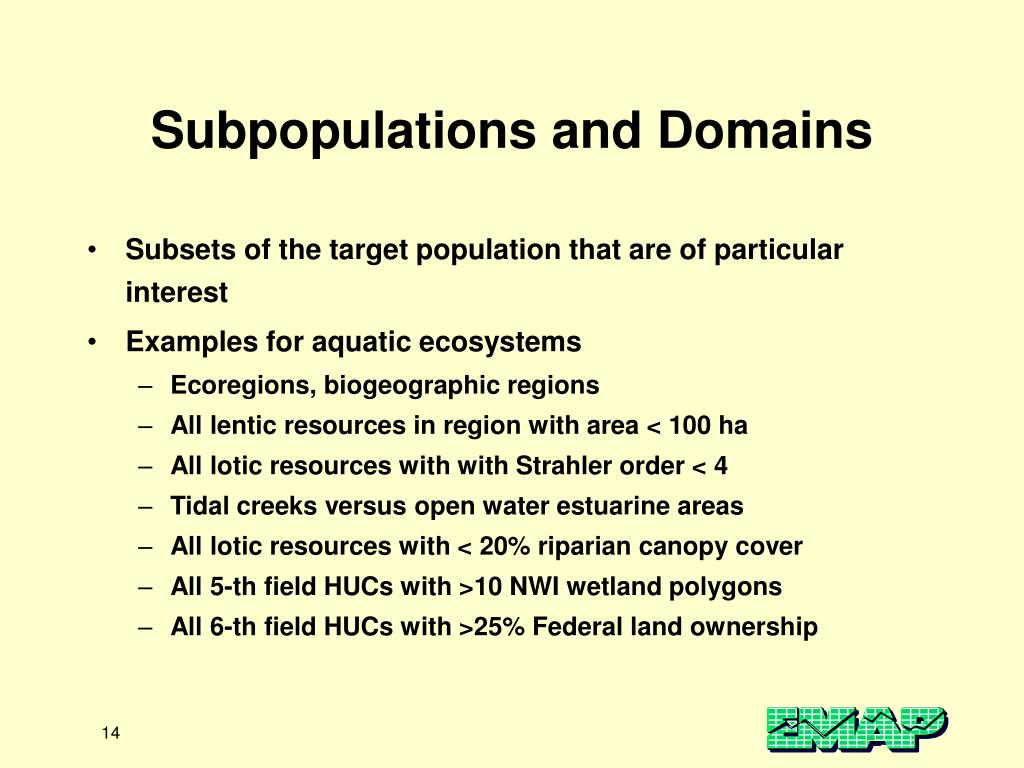 Subpopulations and Domains