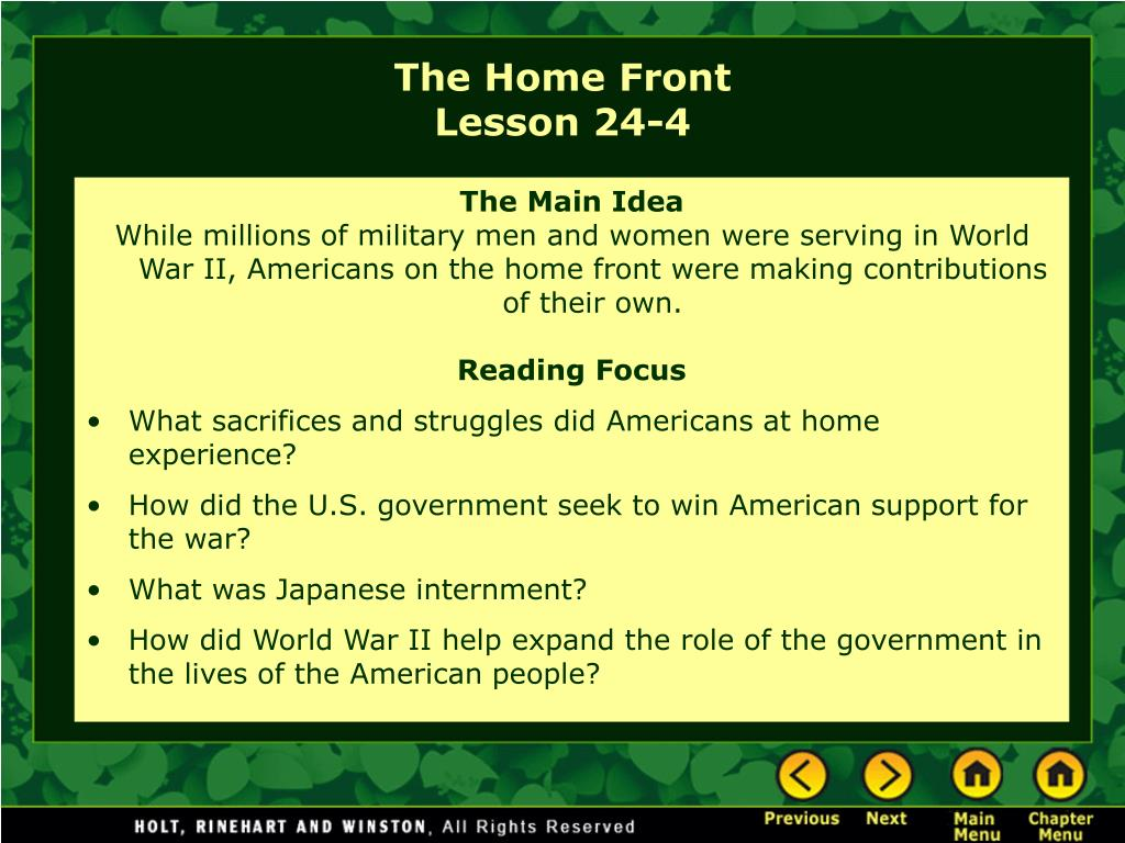 the home front lesson 24 4