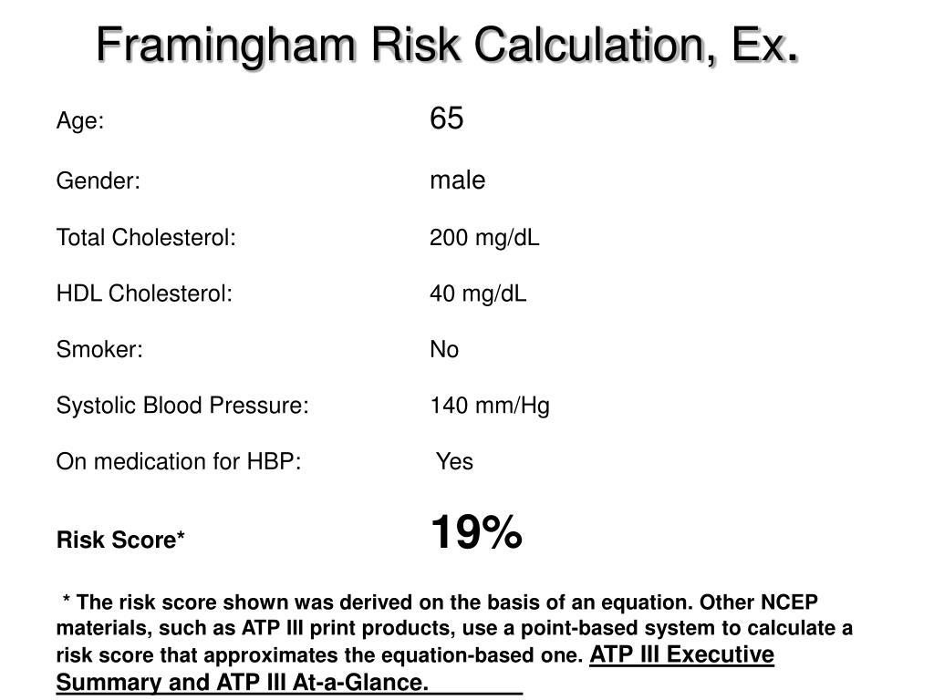 Framingham Risk Calculation, Ex
