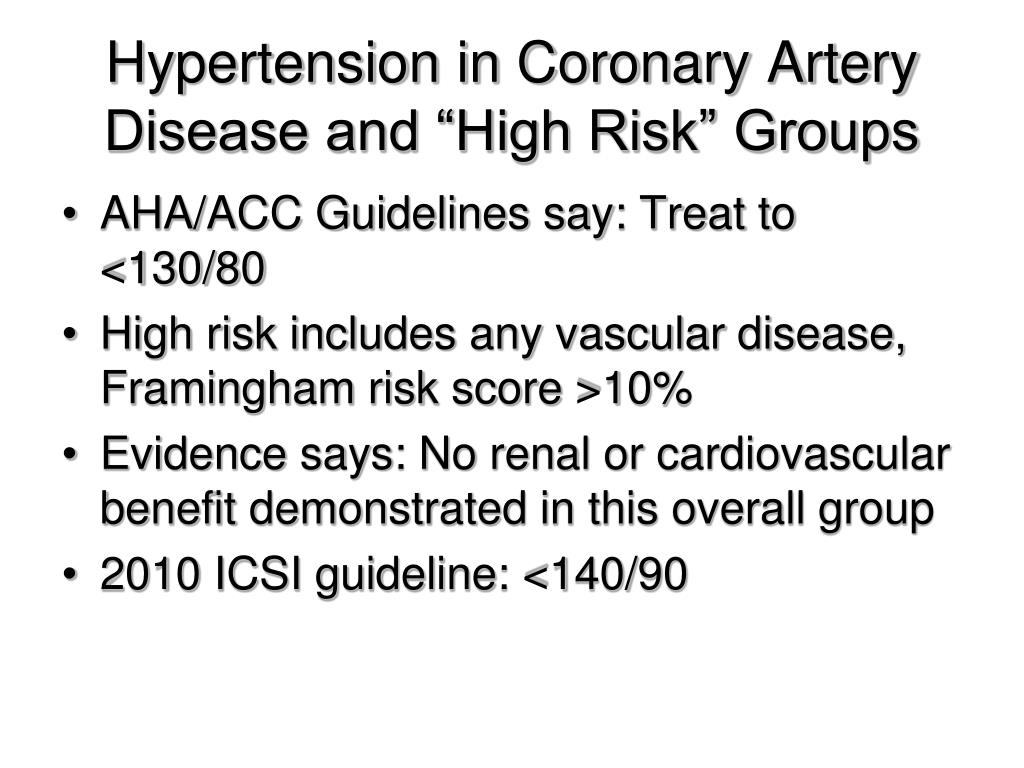 """Hypertension in Coronary Artery Disease and """"High Risk"""" Groups"""