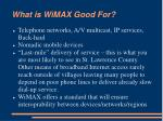 what is wimax good for