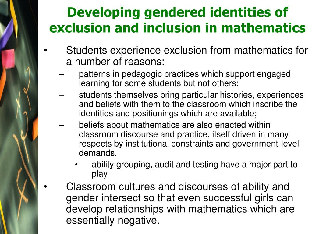 Developing gendered identities of exclusion and inclusion in mathematics