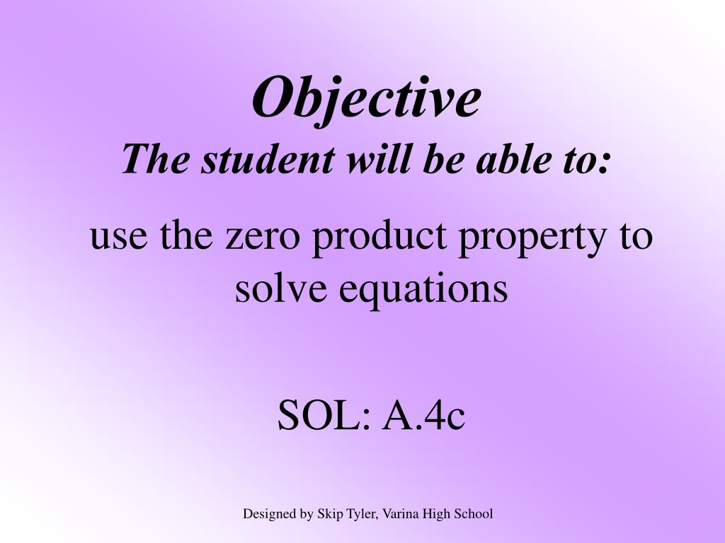 objective the student will be able to l.