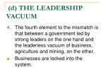 d the leadership vacuum