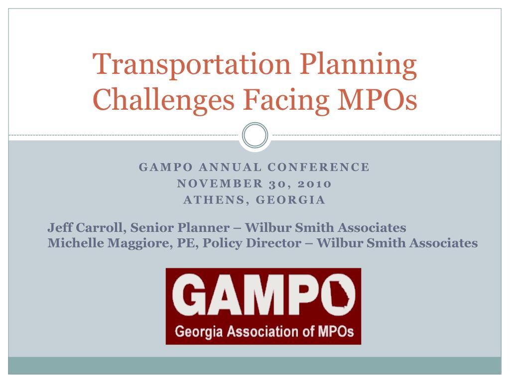 transportation planning challenges facing mpos l.