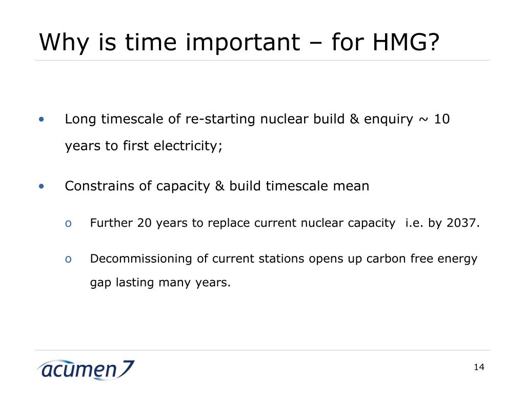 Why is time important – for HMG?