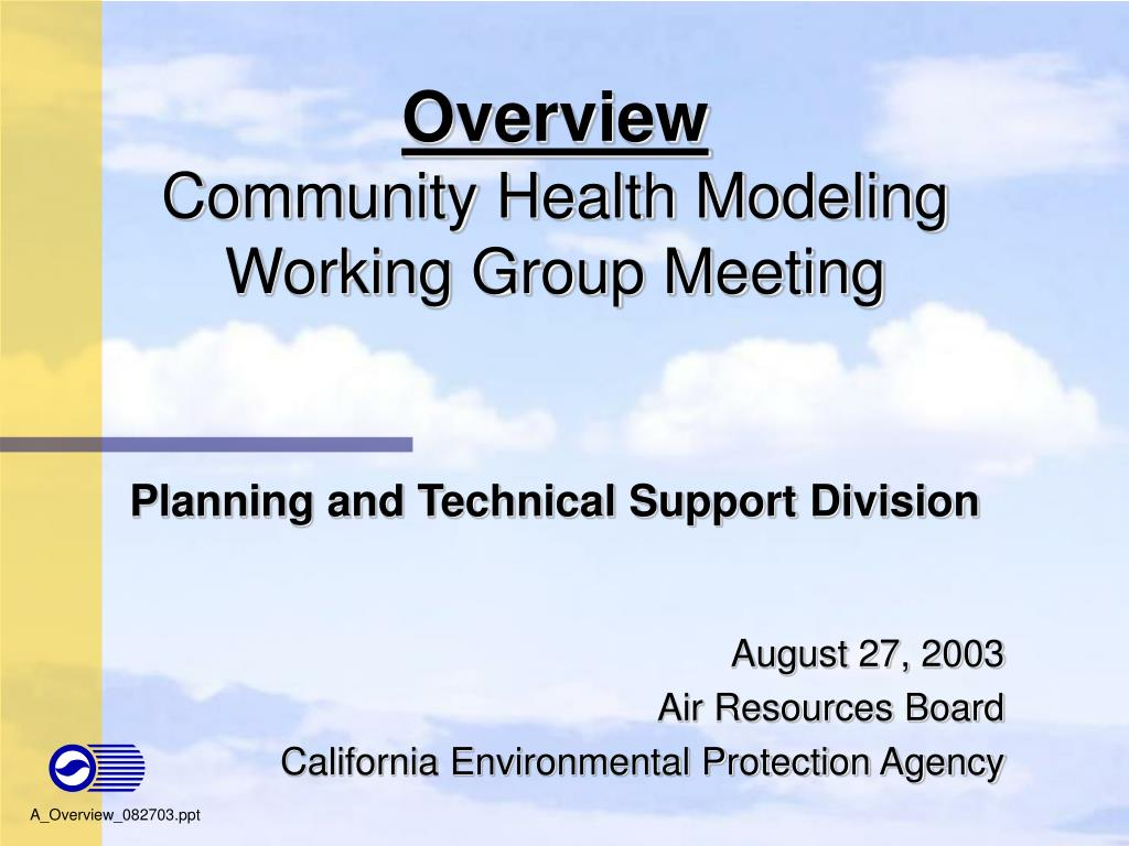 overview community health modeling working group meeting l.