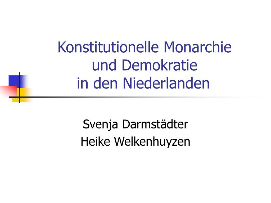 konstitutionelle monarchie und demokratie in den niederlanden l.